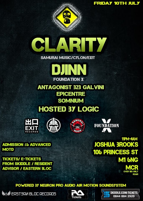 Pandemik Manchester 10th July with Clarity, Djinn, Antagonist, Epicentre, Somnium