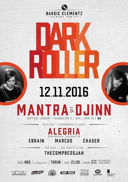 Mantra & Djinn @ Dark Roller, Torun, Poland, Klub NRD (jungle / drum & bass)