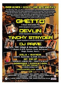 Ghetto / Devlin / Tinchy Stryder + Manchester grime / dubstep / jungle